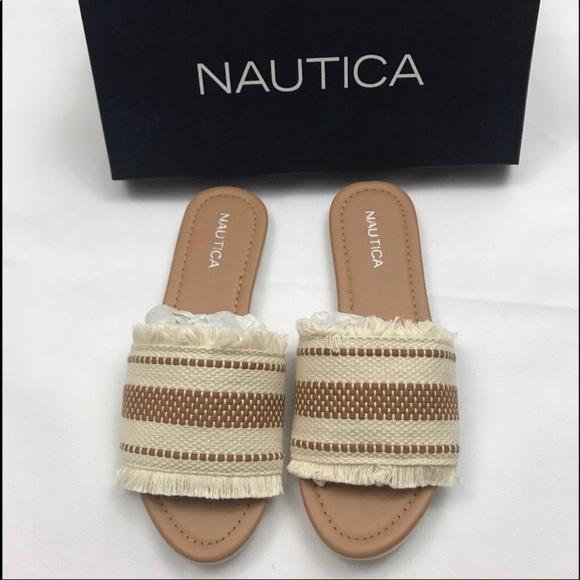 3be9d1b5b7e NEW Nautica Frayed Woven Slide Sandals. M 5b35b3b86a0bb7d54f7e26bc